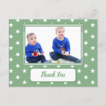 Christmas stars green thank you for gifts photo announcement postcard