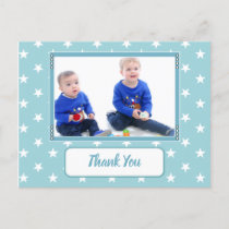 Christmas stars ice blue thank you for gifts photo announcement postcard