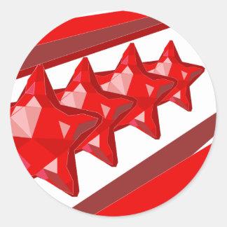 Christmas stars red glossy round stickers