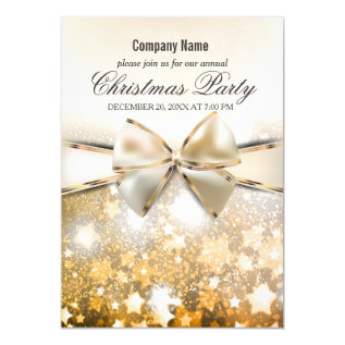 Christmas Stars Sparkle Corporate Party Invitation at Zazzle