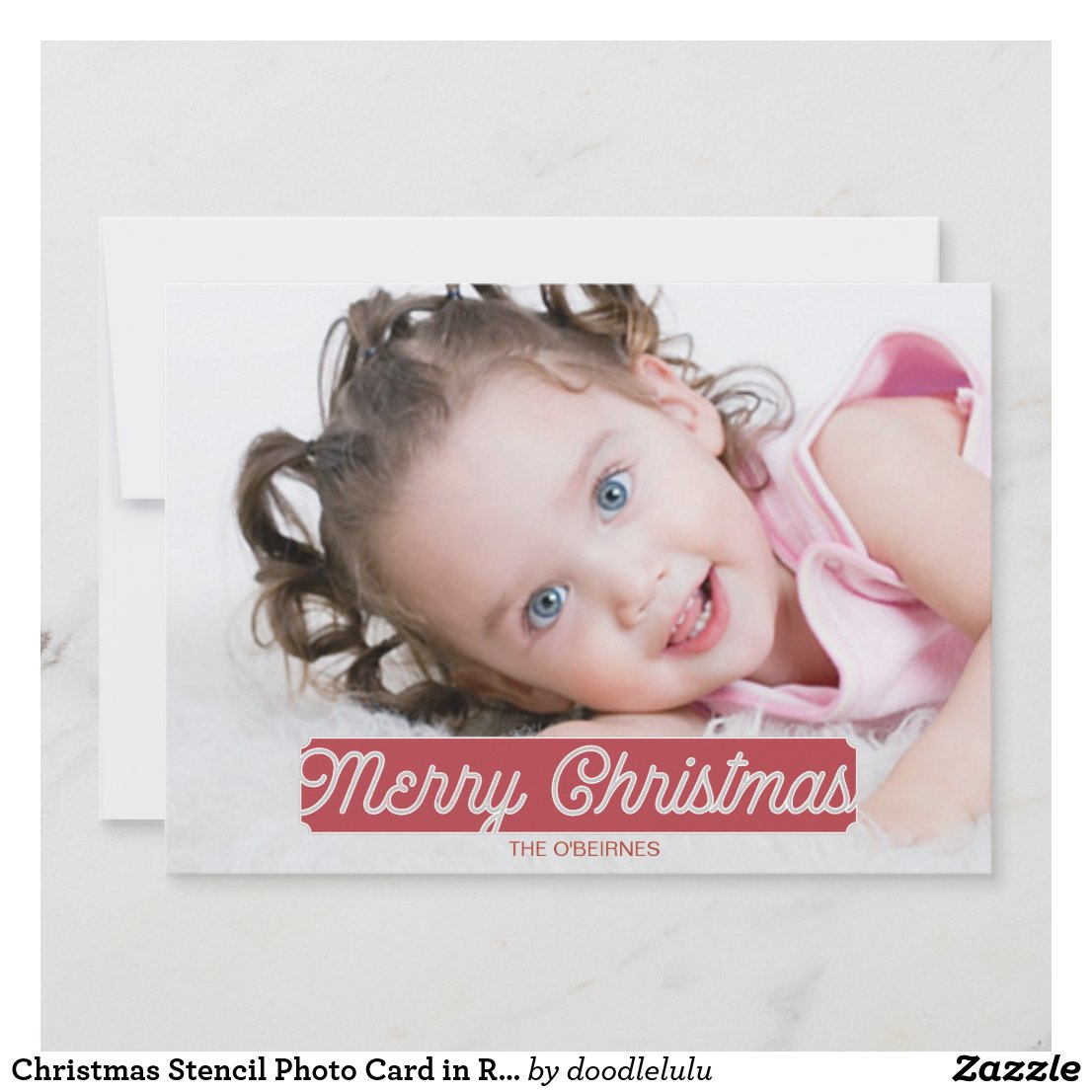 Christmas Stencil Photo Card in Red