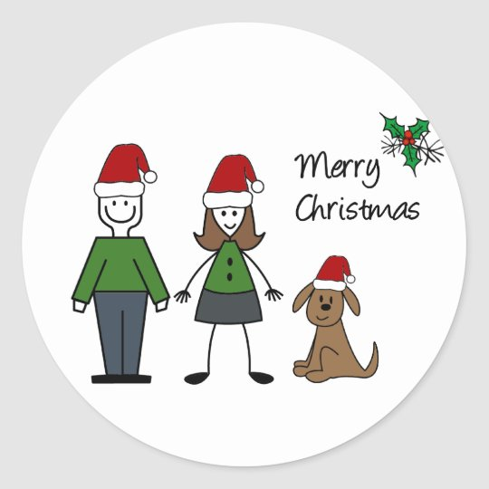 Christmas Stick Figures Classic Round Sticker