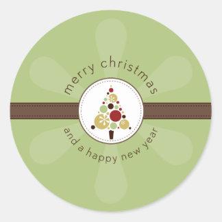 CHRISTMAS STICKER :: modern spotty tree 2