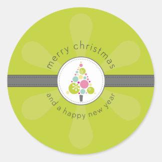 CHRISTMAS STICKER :: modern spotty tree 3