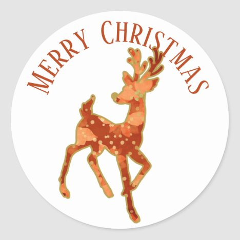 Christmas Sticker/Reindeer/Poinsettia Design Classic Round Sticker