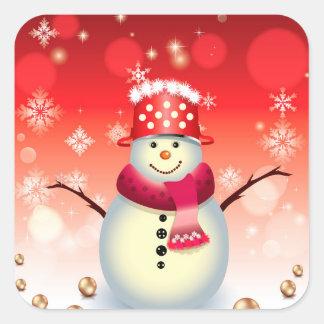 Christmas Sticker-Snowman Square Sticker