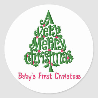 Christmas Stickers/Baby's 1st Christmas Classic Round Sticker