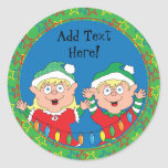 """Christmas Stickers Elves. Personalize<br><div class=""""desc"""">Christmas Stickers Elves. Personalize by adding your favorite font style,  size,  color and wording. Choose large and/or small stickers.</div>"""