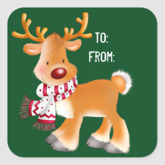 Christmas Stickers/Rudolph Square Sticker