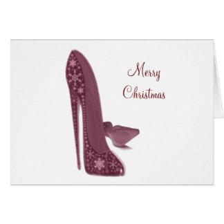 Christmas Stiletto High Heel Shoes Art Card