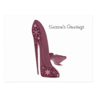 Christmas Stiletto High Heel Shoes Art Postcard