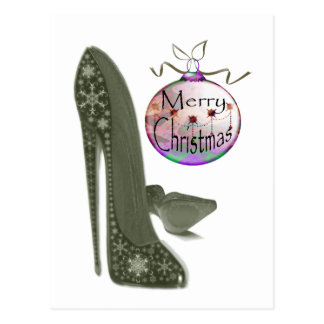 Christmas Stiletto Shoe and Bauble Art Gifts Postcard