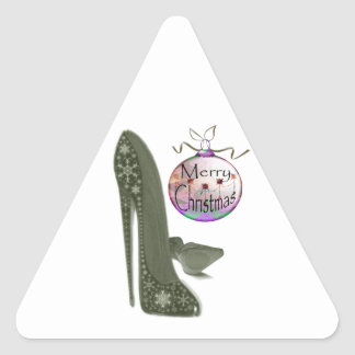 Christmas Stiletto Shoe and Bauble Art Gifts Triangle Sticker