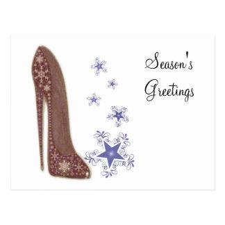 Christmas Stiletto Shoe Art and Star Snowflakes Postcard