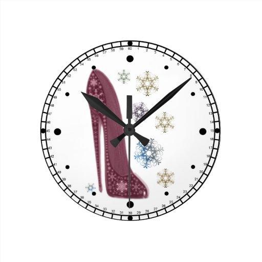 Christmas Stiletto Shoes and Snowflakes Art Wallclock