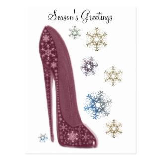 Christmas Stiletto Shoes and Snowflakes Art Postcard