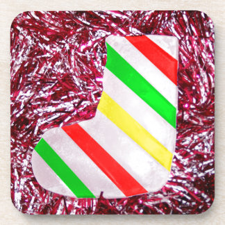 Christmas Stocking and Garland Drink Coasters
