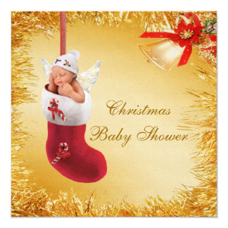 Christmas Stocking Baby & Tinsel Baby Shower Custom Announcement