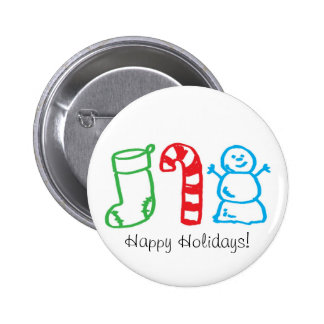 Christmas Stocking Candy Cane and Snowman Pinback Button