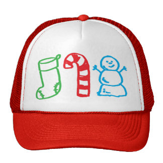 Christmas Stocking Candy Cane and Snowman Trucker Hat