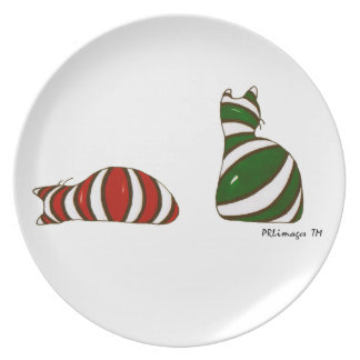 Christmas Stocking Cats Plate