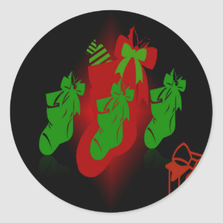 Christmas Stocking Collection Classic Round Sticker