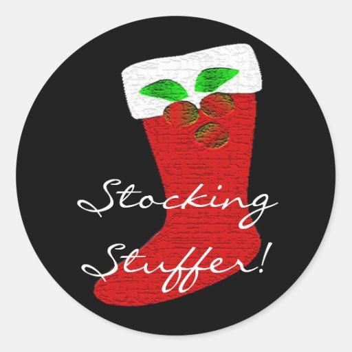 Christmas Stocking Customizable Classic Round Sticker