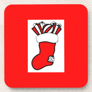 Christmas Stocking Design Drink Coaster