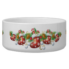Christmas Stocking Garland Large Pet Bowl at Zazzle