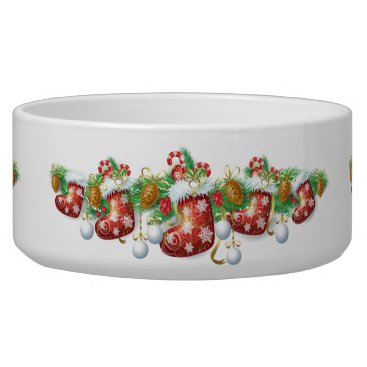 Christmas Themed Christmas Stocking Garland Large Pet Bowl