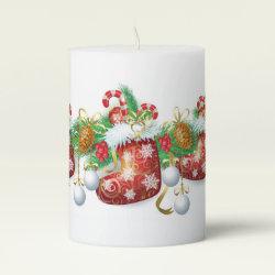 Christmas Stocking Garland Pillar Candle