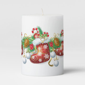 Christmas Stocking Garland Pillar Candle