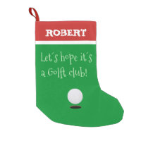 CHRISTMAS STOCKING. GOLF CLUB AND BALL SMALL CHRISTMAS STOCKING