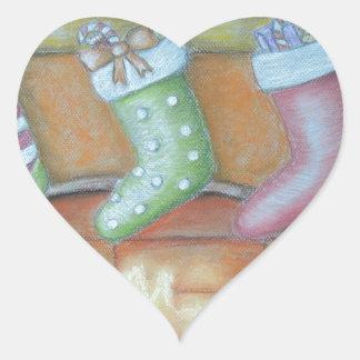 Christmas stocking heart sticker