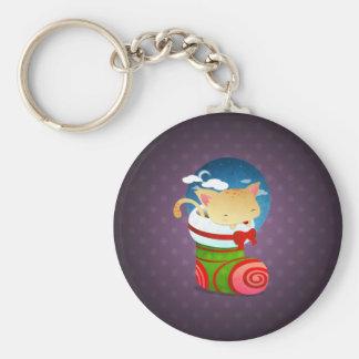 Christmas Stocking Basic Round Button Keychain