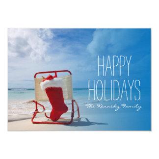 Christmas stocking on a beach chair card