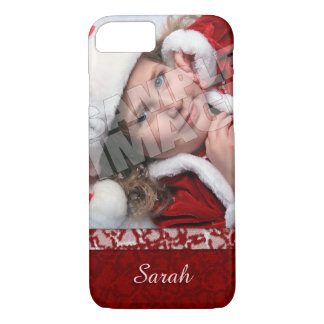 Christmas Stocking Photo Name Template iPhone 8/7 Case
