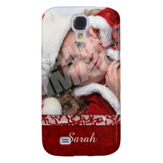 Christmas Stocking Photo Name Template Samsung Galaxy S4 Cover