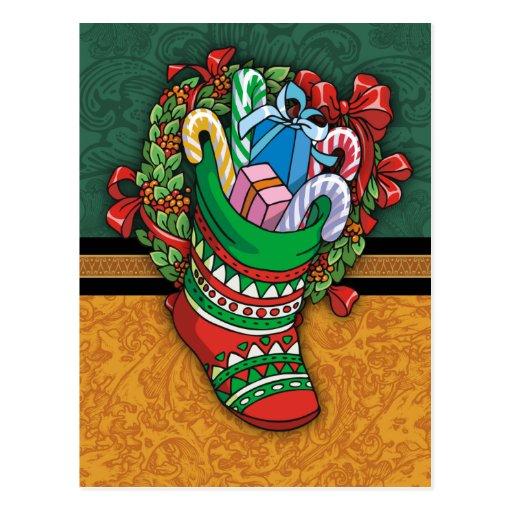 Christmas Stocking Postcard