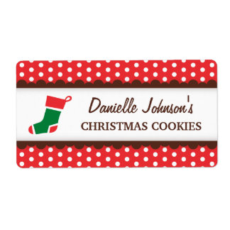 Christmas stocking red polka dot canning jar label