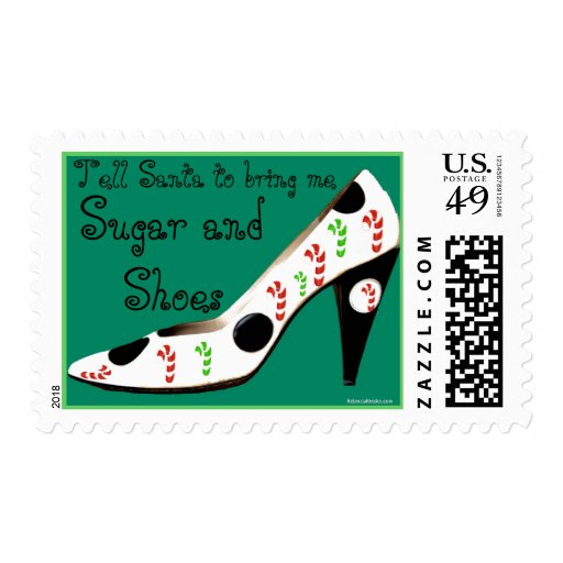 Christmas Stocking Sugar and Shoes Postage Stamp