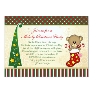 Christmas stocking, Teddy Bear, tree kids party Card