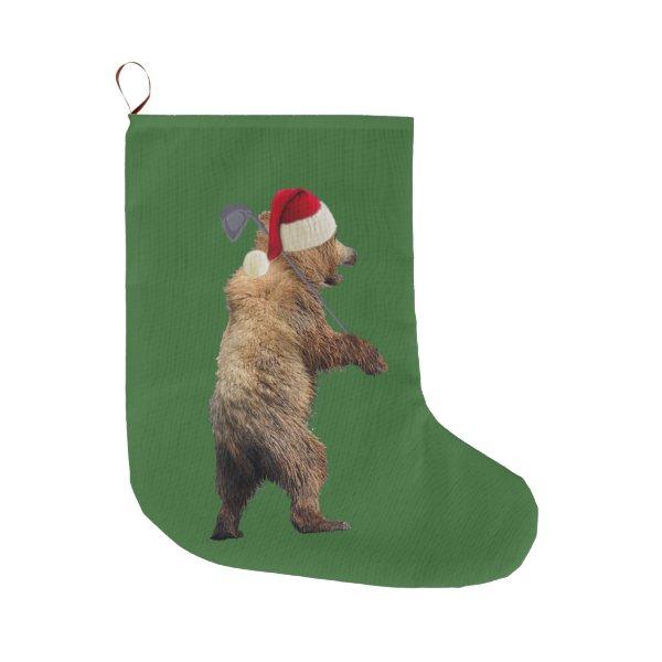 Christmas Stocking w/ golfing grizzly bear