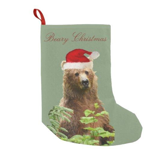 Bear Christmas Stocking.Christmas Stocking W Grizzly Bear