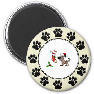 Christmas Stocking with Candy Canes and Mistletoe 2 Inch Round Magnet