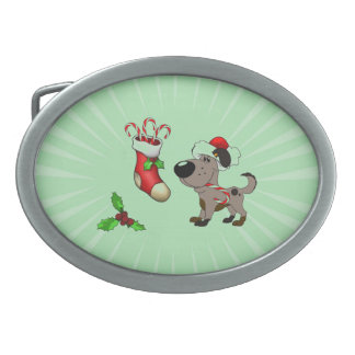 Christmas Stocking with Candy Canes and Mistletoe Oval Belt Buckles