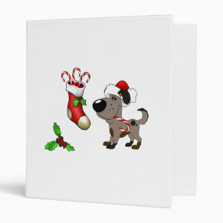 Christmas Stocking with Candy Canes and Mistletoe 3 Ring Binders