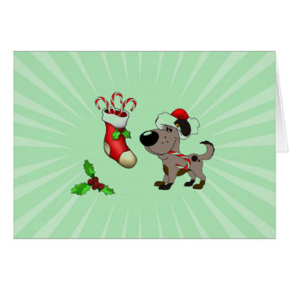 Christmas Stocking with Candy Canes and Mistletoe Greeting Card
