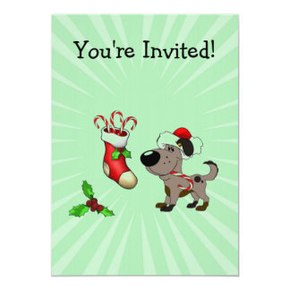Christmas Stocking with Candy Canes and Mistletoe Invites