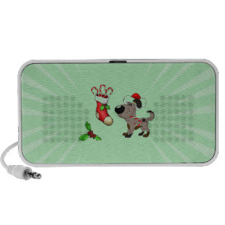 Christmas Stocking with Candy Canes and Mistletoe Travelling Speakers